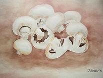 Champignon, Pilze, Aquarell, Stillleben