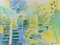 Grün, Abstrakte kunst, Frühling, Gelb