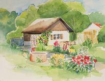 Kleingartenidyll, Garten mit blumen, Botanik, Aquarell