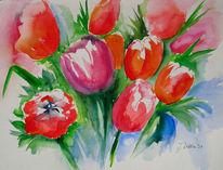 Aquarellmalerei, Frühling, Tulpen, Rot