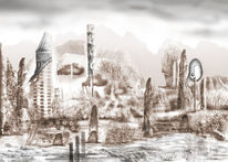 Digital, Monochrom, Landschaft, Digitale kunst