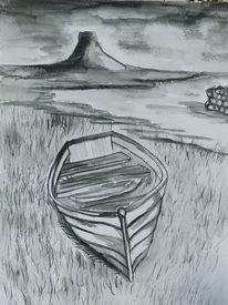 Wasser, Schwart, Weiß, Boot