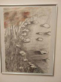 Bleistiftzeichnung, Landschaft, Wasser, Ufer