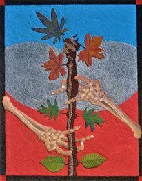 Skeletthände, Tarotkarte, Baumstamm, Blätter