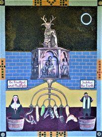 Gläubige, Teufel, Schlange, Altar