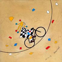 Fahrrad, Gelb, Rot, Narr