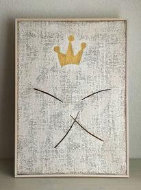 Weiß, Gold, Krone, Mischtechnik