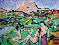 Lauschen, See, Grün, Expressionismus