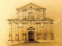 Kirche, Bleistiftzeichnung, Fassade, Zeichnungen