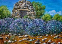 Borie, Provence, Lavendel, Malerei