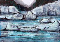 Landschaft, Pastellmalerei, Tuschezeichnung, Mischtechnik