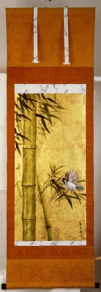 Bambus, Gold, Malerei,