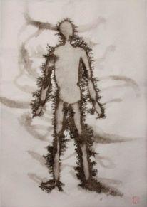 Japanisches papier, Tuschmalerei, Zeichnungen,