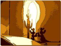 Schlucht, Kaktus, Wüste, Digitale kunst