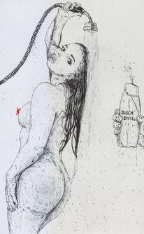 Duschen, Frau, Comic, Nass