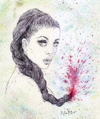 Model, Aquarellmalerei, Frau, Haare