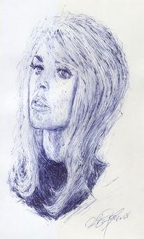 Frau, Hollywood, Kugelschreiber, Blond
