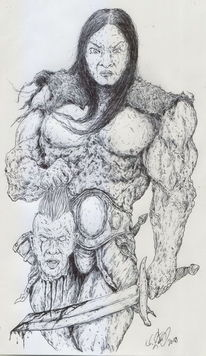 Fantasie, Schwert, Kopf, Conan