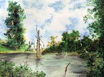 Landschaft, Alte meister, Sommer, Teich