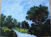Wolken, Baum, Landschaft, Bach