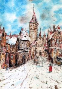 Pferde, Burg, Stadt, Winter