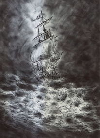 Schiff, Wolken, See, Segelschiff