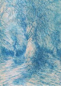 Winter, Baum, Romantik, Kugelschreiber