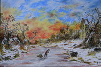 Winterlandschaft, Malerei, Winter, Kälte