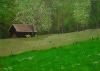 Wiese, Gras, Holzhütte, Zaun