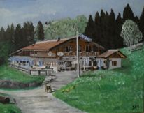 Haus, Panorama, Schild, Kiesweg