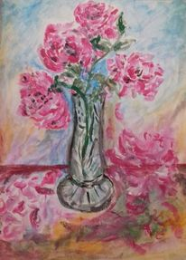 Stillleben, Rose, Vase, Malerei