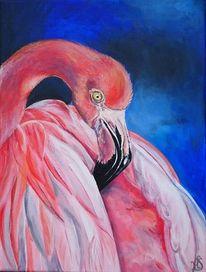 Rosa, Blau, Flamingo, Malerei