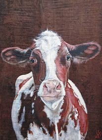 Kuh, Holz, Eichen, Malerei
