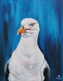 Vogel, Blau, Möwe, Malerei