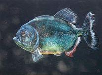 Gold, Piranha, Fisch, Malerei