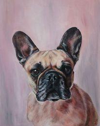 Bulldogge, Französisch, Hund, Malerei