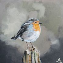 Rotkehlchen, Vogel, Orange, Malerei