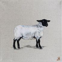 Bauernhoftiere, Schaf, Naturleinwand, Malerei