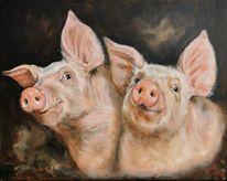 Schwein, Ferkel, Bauernhof, Malerei