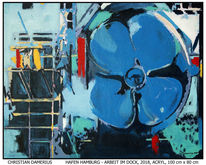 Schiff, Dock, Acrylmalerei, Elbphilharmonie hamburg