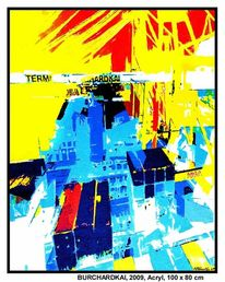 Blau, Burchardkai, Acrylmalerei, Container