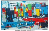 Dock, Blau, Grün, Acrylmalerei