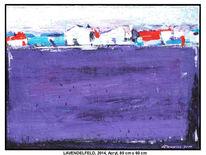 Moderne kunst, Wiese, Himmel, Acrylmalerei