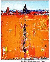 Moderne kunst, Acrylmalerei, Farben, Horizont