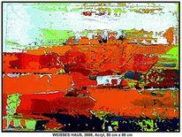 Haus, Landschaft, Weiß, Acrylmalerei