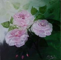 Rose, Ölmalerei, Nasss grün blumen, Rosa