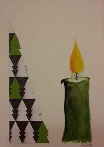 Licht, Weihnachten, Christbaum aquarell, Kerzen