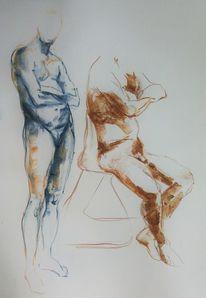Menschen, Mann, Akt, Zeichnung