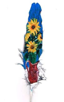 Gelb, Vase, Blau, Sonnenblumen