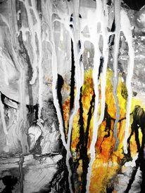 Modern, Schwarz weiß, Acrylmalerei, Dekoration